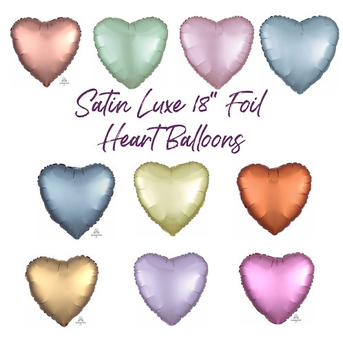 "Plain Satin Luxe Foil Heart Balloon 18"" Choose your Colour Helium Filled"