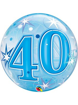 """Blue/Clear 40th Birthday Bubble Balloon Helium filled 22"""""""