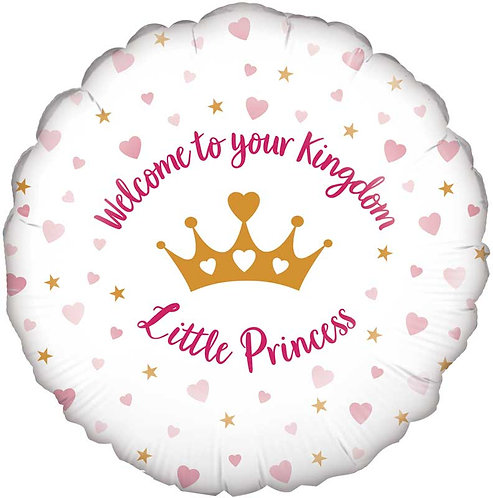 """Baby Girl 'Welcome to your kingdom little princess' 18"""" Foil Helium Balloon"""