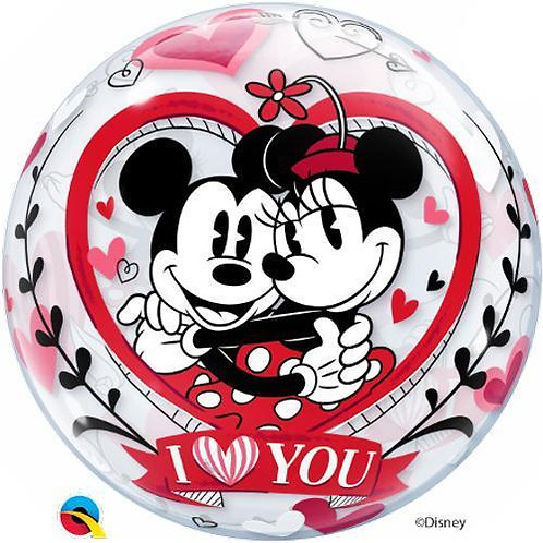 Disney Mickey & Minnie - I Love You Bubble Balloon - 2 sided helium filled