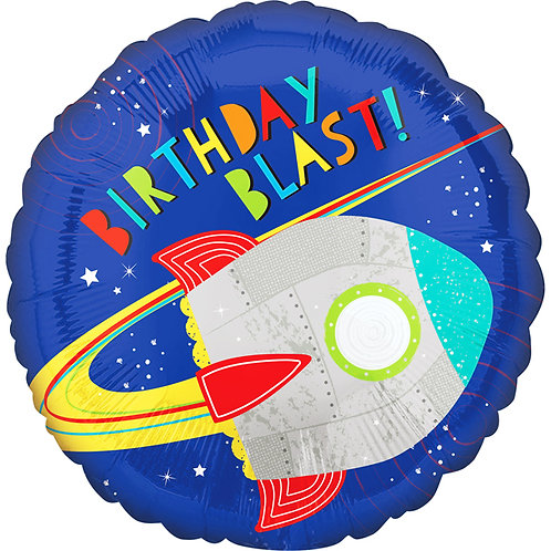 "Birthday Blast Space Rocket Themed 18"" Foil Helium Balloon"