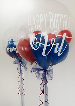 personalised red and blue large bubble h