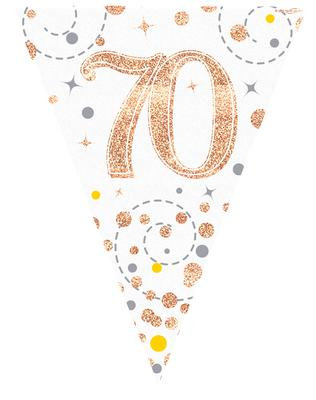 Rose Gold & White Holographic 70th Birthday Bunting 12.8ft/3.9m