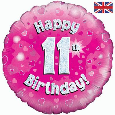 "Pink Happy 11th Birthday 18"" Foil Helium Balloon"