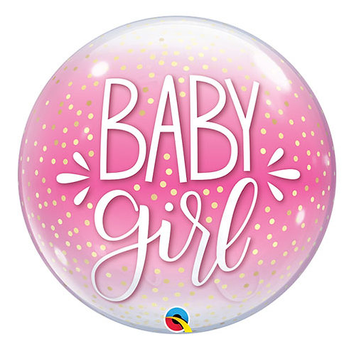 Baby Girl Confetti Detail Bubble Balloon New Baby Helium Baby Shower 22""