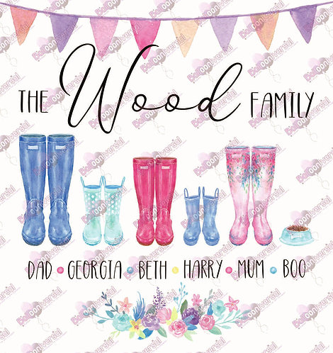Welly Boots Family Personalised Digital Image - D.I.Y Print at Home Gift
