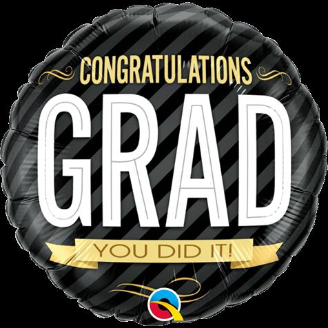 "Graduation foil balloon 'Congratulations Grad you did it!' 18"" Helium Balloon"