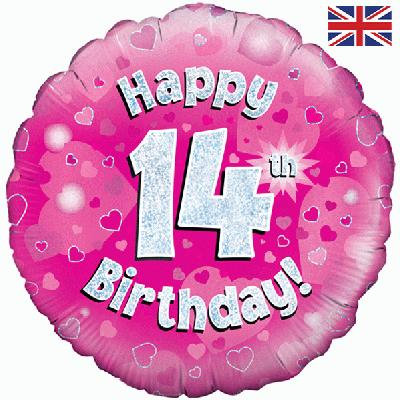 "Pink Happy 14th Birthday 18"" Foil Helium Balloon"