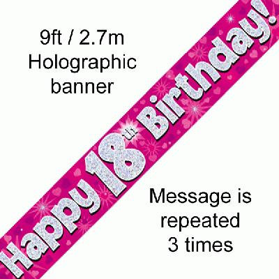 Pink Holographic 'Happy 18th Birthday' Banner 9ft/2.7m