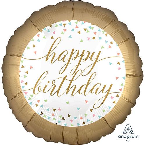 """Happy Birthday 18"""" Foil Helium Balloon Gold Satin White"""