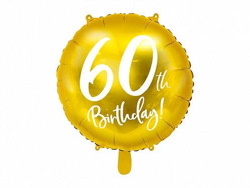 "Gold 60th Birthday 18"" Foil Helium Balloon"