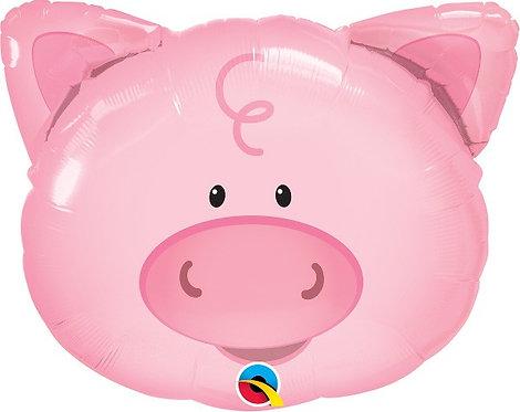 """Pig head farm animal Supershape Helium Foil Balloon 30"""""""