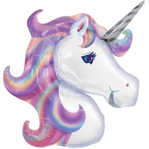 Pastel Unicorn Balloon Supershape Helium Foil Balloon Unicorn Head