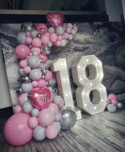 18th birthday balloon demi arch pink gre