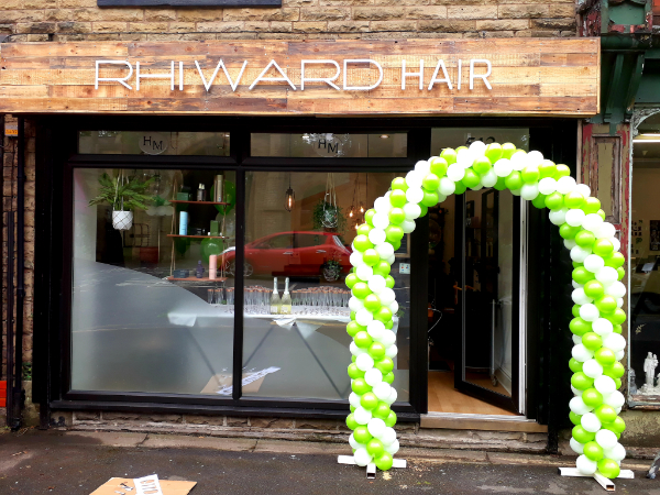 twisted airfilled balloon arch promotion