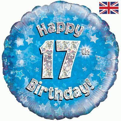 "Blue Happy 17th Birthday 18"" Foil Helium Balloon"