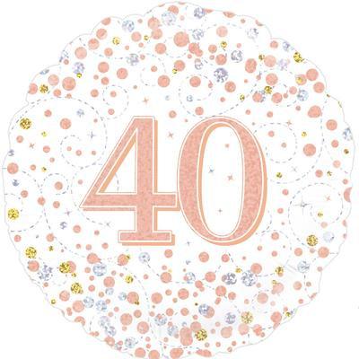 "White & Rose Gold 40th Birthday 18"" Foil Helium Balloon"