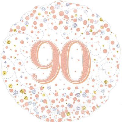 "White & Rose Gold 90th Birthday 18"" Foil Helium Balloon"