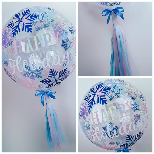 Snowflake pastels 'Happy Holidays' helium bubble balloon with tassel tail
