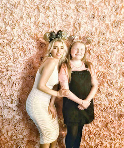 Large full vintage pink flower wall hire