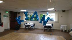 letter balloon arch blue motram hyde
