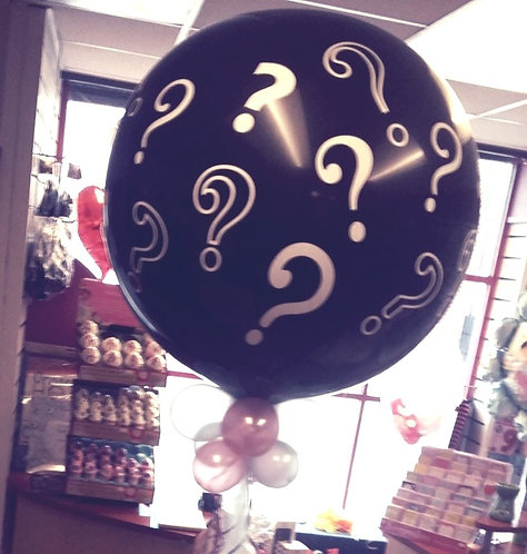 Question Mark Print 3ft gender reveal balloon
