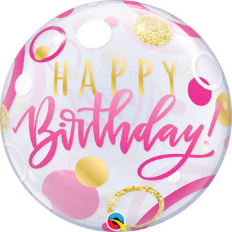 Happy Birthday Bubble Balloon Clear, Pink & Gold Helium filled 22""