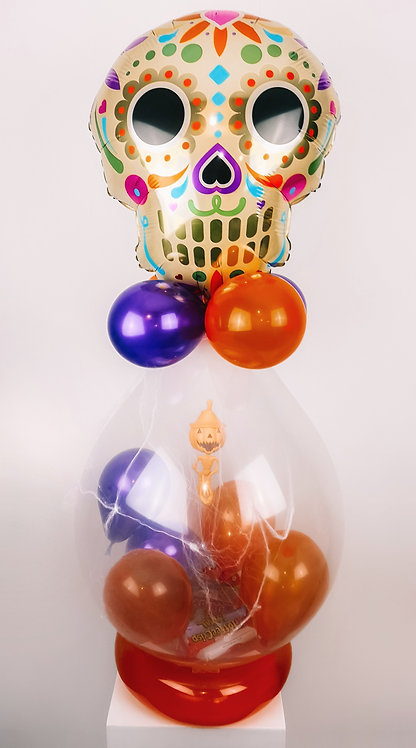 Halloween Day of the Dead themed pop balloon with treats & squishy inside