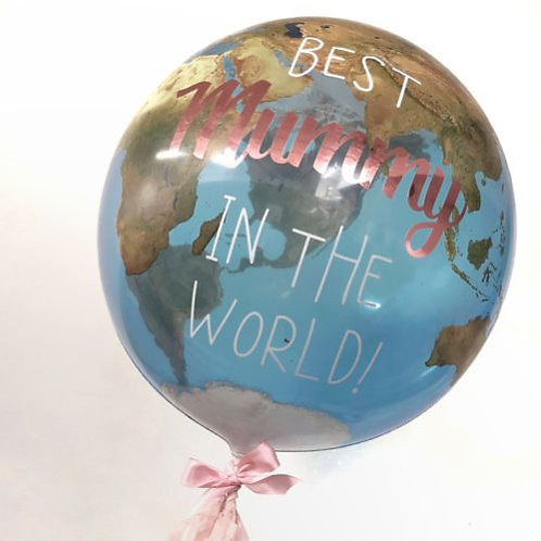 Personalised Mother's Day Globe Balloon finished with Handmade Tassels