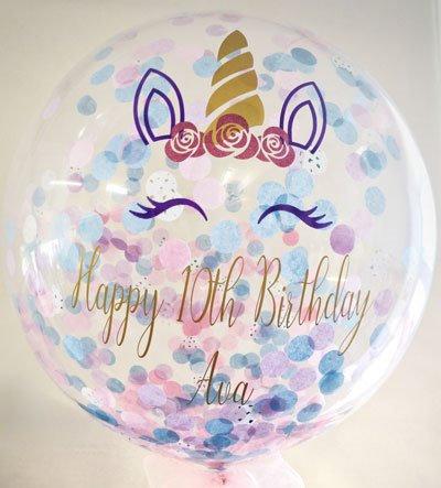 "Personalised unicorn theme 24"" bubble balloon"
