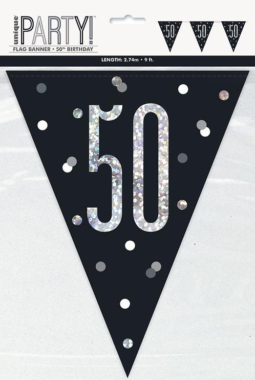 Black & Silver Holographic 50th Birthday Bunting 2.74m