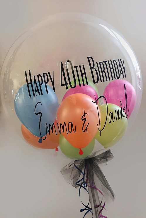"Large 24"" Personalised Bubble Balloon - Balloons inside: Choose Your Own Colours"