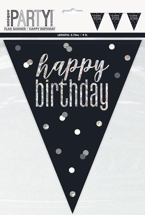 Black & Silver Holographic Happy Birthday Bunting 2.74m