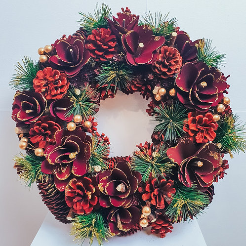 Boxed Wreath - Burgundy Beauty 38cm