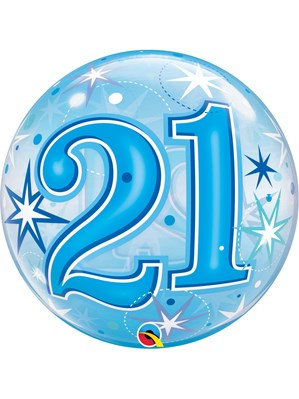 """Blue/Clear 21st Birthday Bubble Balloon Helium filled 22"""""""