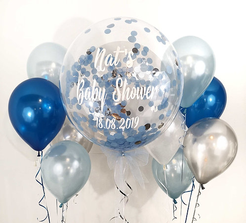 """Large 24"""" Personalised Bubble Balloon - Confetti inside: Choose Your Own Colours"""