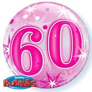 """Pink/Clear 60th Birthday Bubble Balloon Helium filled 22"""""""
