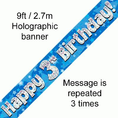 Blue Holographic 'Happy 3rd Birthday' Banner 9ft/2.7m