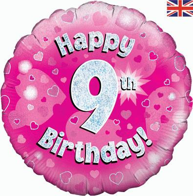 "Pink Happy 9th Birthday 18"" Foil Helium Balloon"