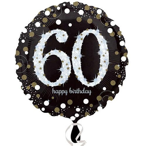 "Black Silver Gold Sparkling 60th Happy Birthday 18"" Foil Helium Balloon"