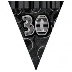 Black & Silver Glitz Holographic 30 Bunting 2.74m
