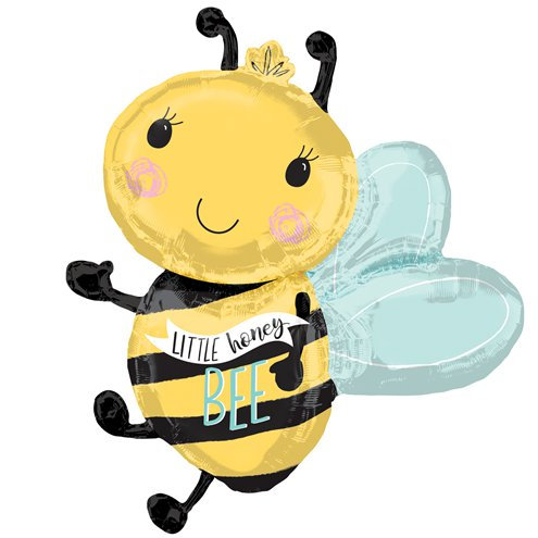 "What will baby bee? - ""Little honey Bee"" Bee shaped foil balloon 30"""