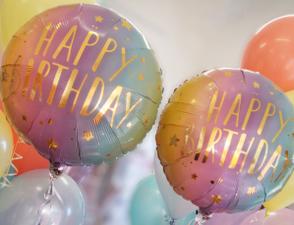 pastel ombre happy birthday 18 inch foil