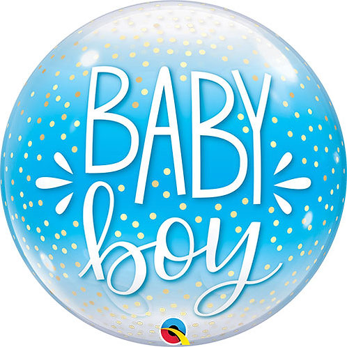 Baby Boy Confetti Detail Bubble Balloon New Baby Helium Baby Shower 22""