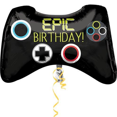 "Gaming Controller Shaped Balloon ""Epic Birthday"" 28"" foil balloon."