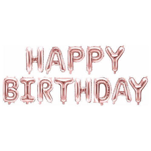 HAPPY BIRTHDAY Rose Gold balloon banner kit DIY air fill. 13 x 35cm letters