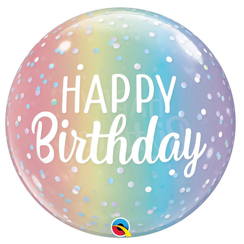 Happy Birthday Ombre Rainbow Bubble Balloon Semi-Clear, Helium filled 22""