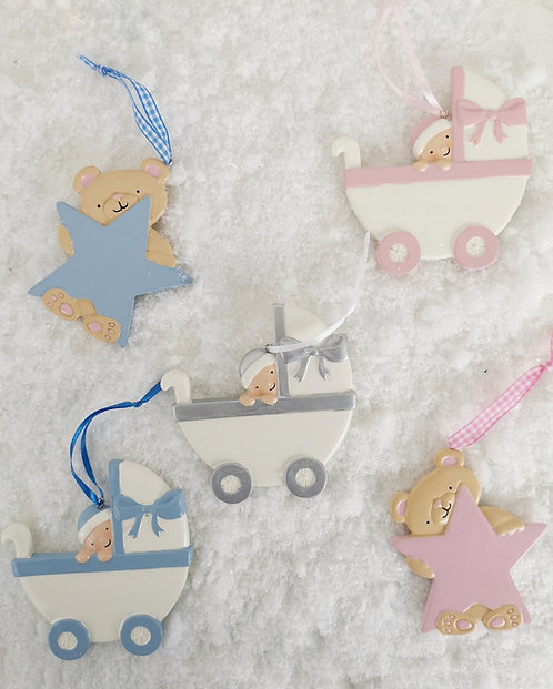 Pink/Blue Teddy Bear Holding Star Personalised Christmas Tree Decorations