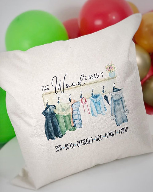 Personalised family coats on hooks linen style cushion cover + cushion inner