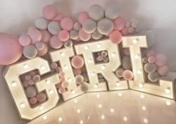 baby girl balloon garland light up lette